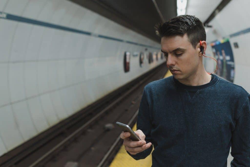 Man using his phone