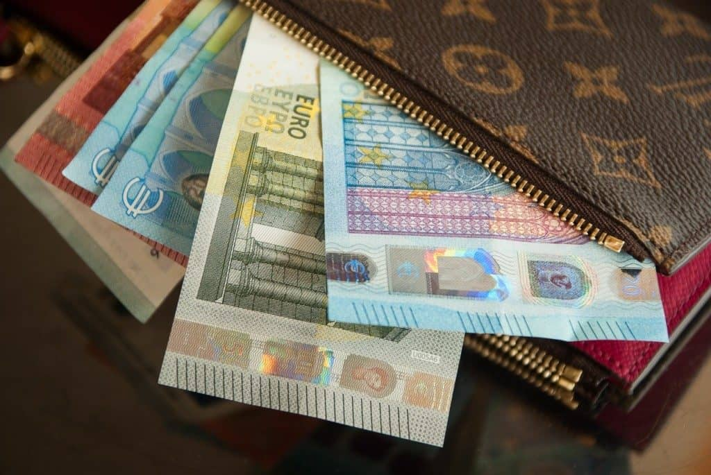 Euro notes in wallet