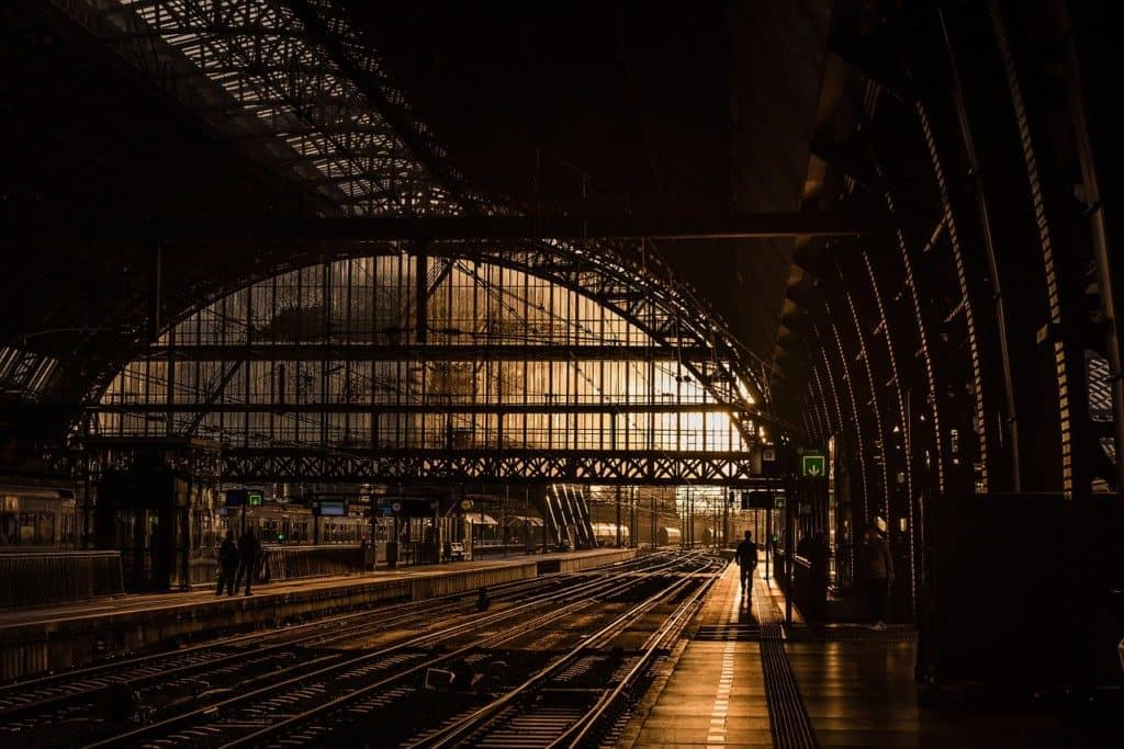 Amsterdam Central Station at Sunset