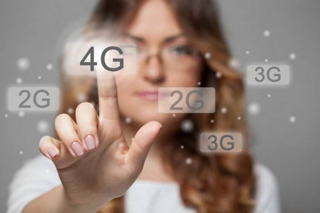 Woman Pointing at 4G Icon