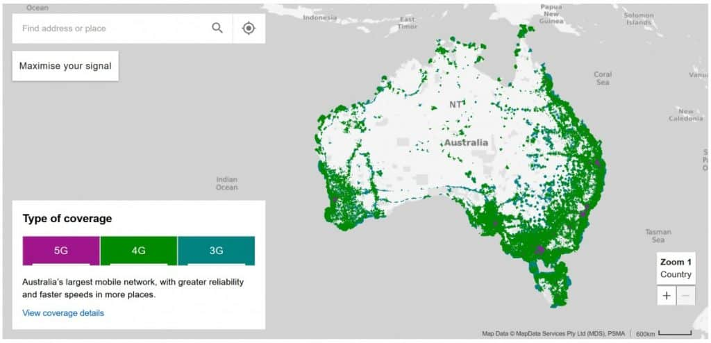 Telstra Coverage Map