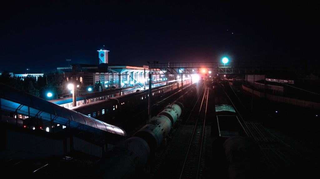 Samarkand station at night, Uzbekistan