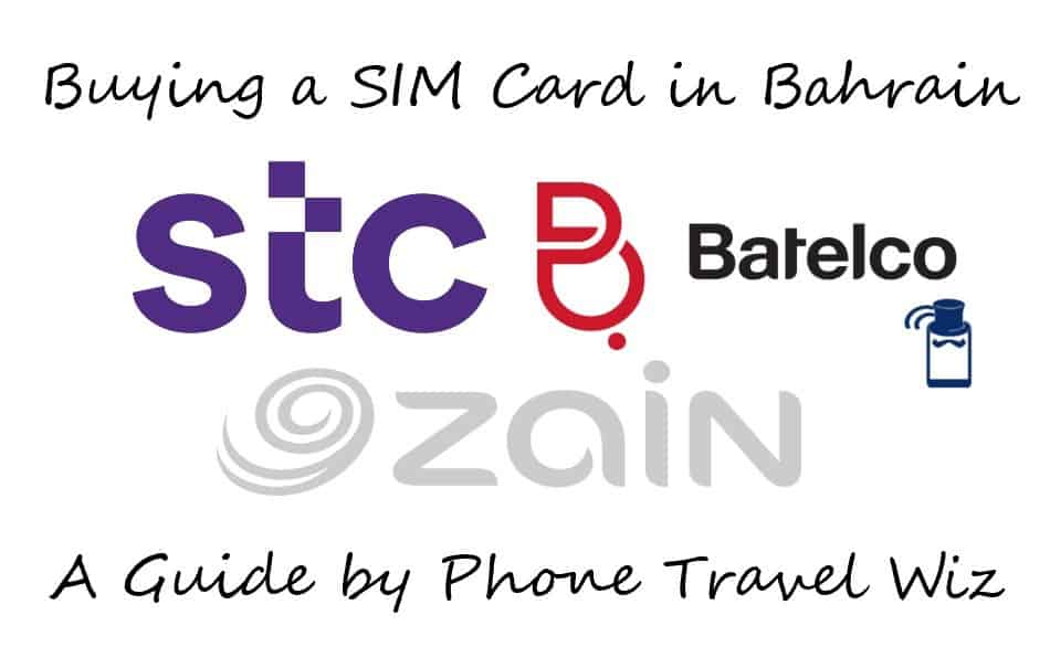 Buying a SIM Card in Bahrain Guide (Logos of STC, Batelco, and Zain)