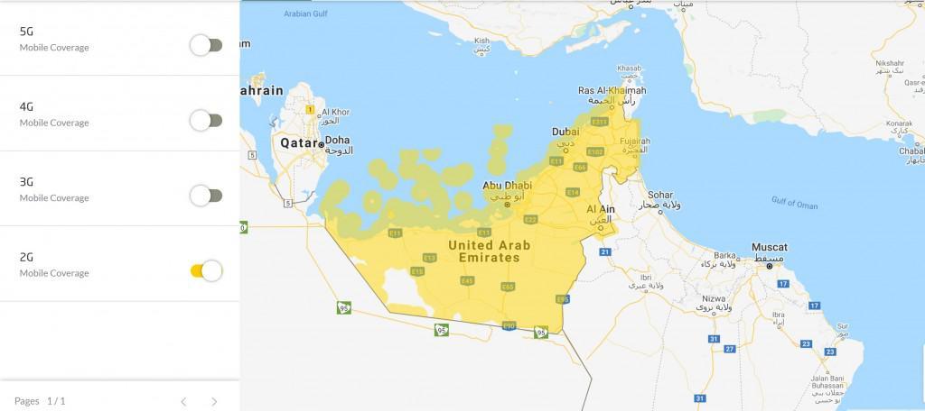 Etisalat UAE 2G Coverage