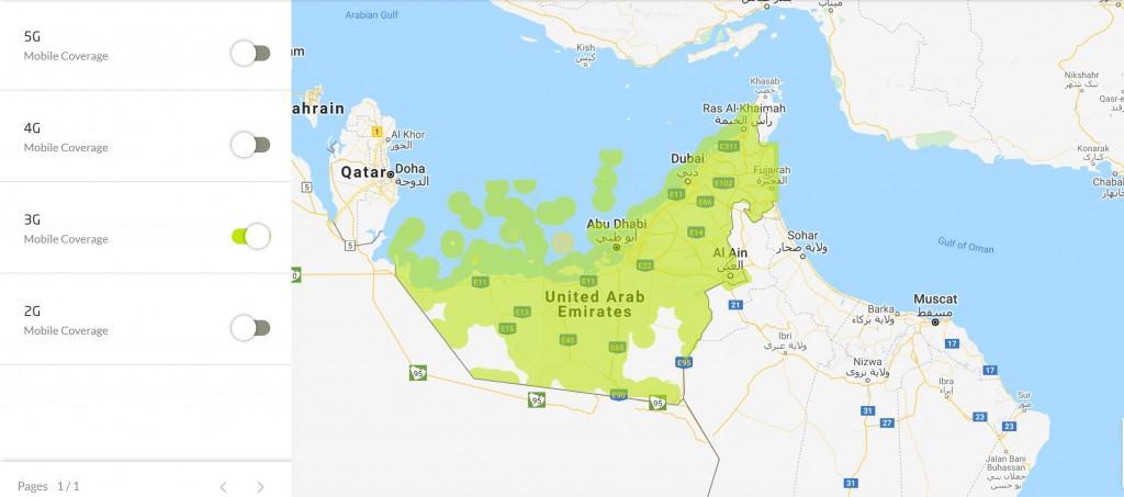 Etisalat UAE 3G Coverage