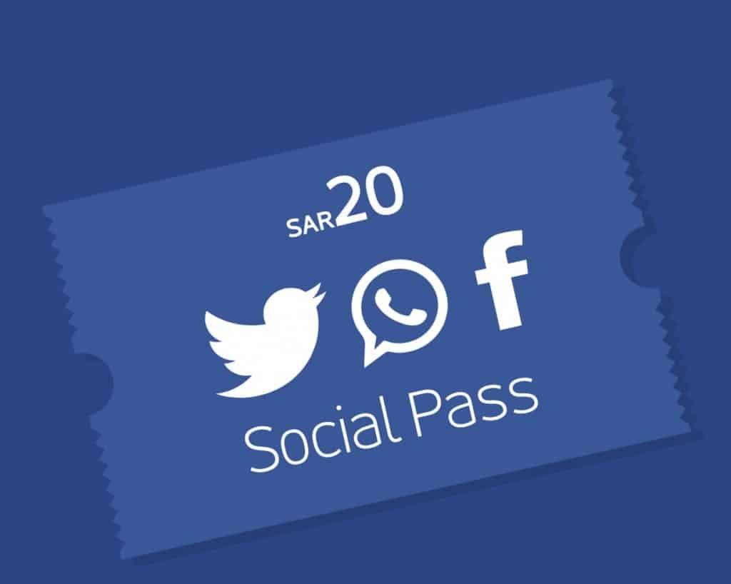 Jawwy Social Pass for Twitter, WhatsApp & Facebook
