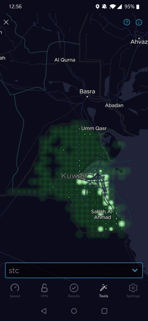 STC Kuwait Coverage Map by Speedtest