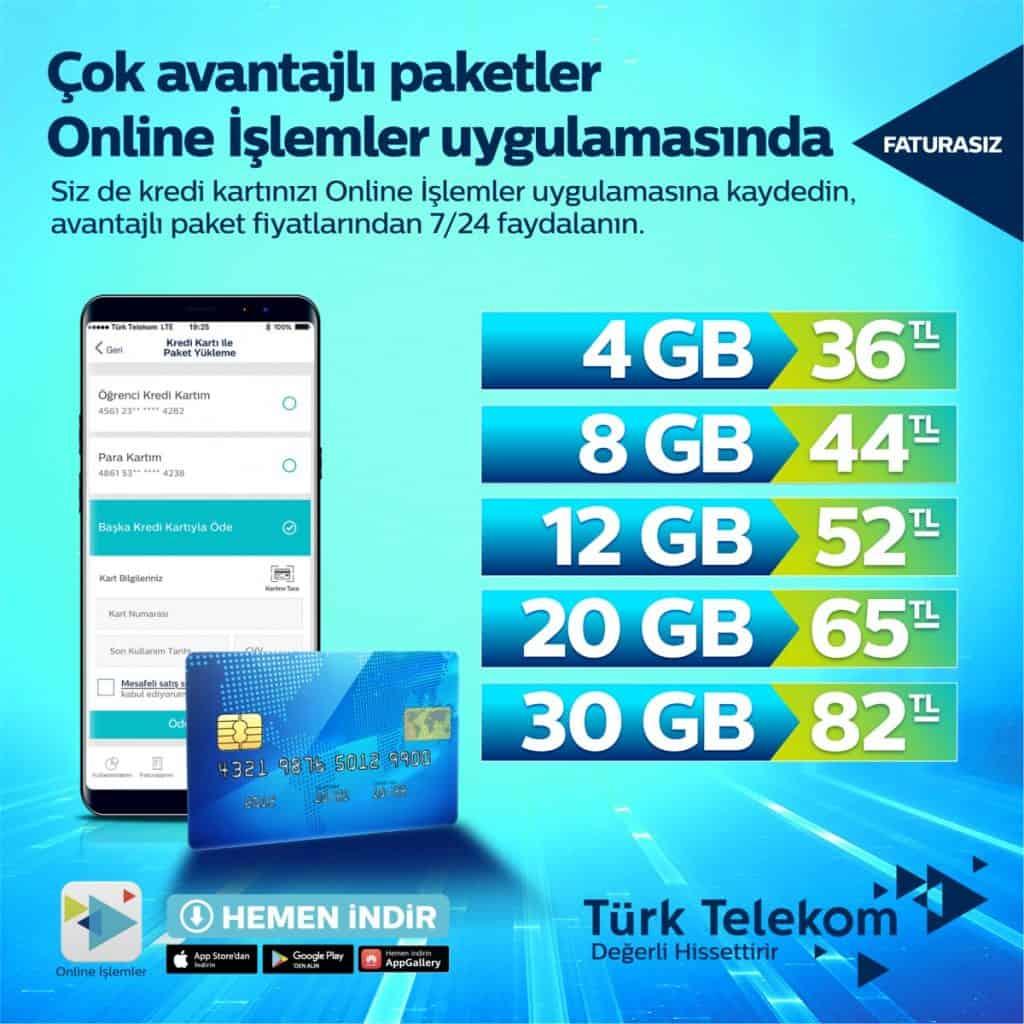 Türk Telekom Faturasız Dijital Paketler-Prepaid Digital Packages
