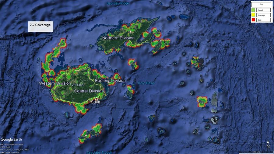 Vodafone Fiji 2G Coverage Map