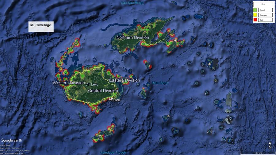 Vodafone Fiji 3G Coverage Map