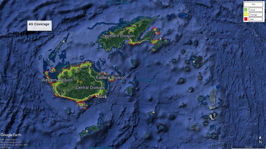 Vodafone Fiji 4G LTE Coverage Map