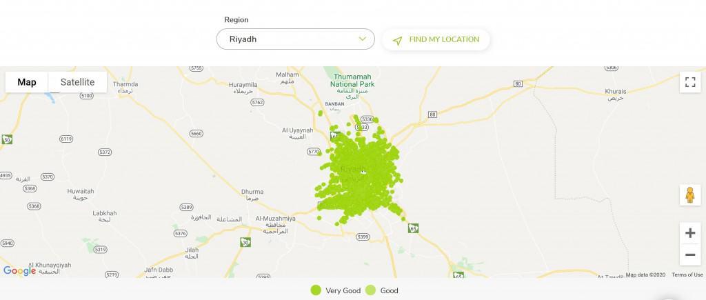 Zain Saudi Arabia 5G Coverage in Riyadh