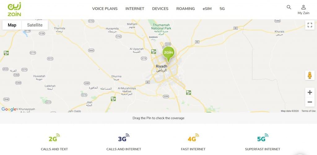 Zain Saudi Arabia Coverage Map in Riyadh