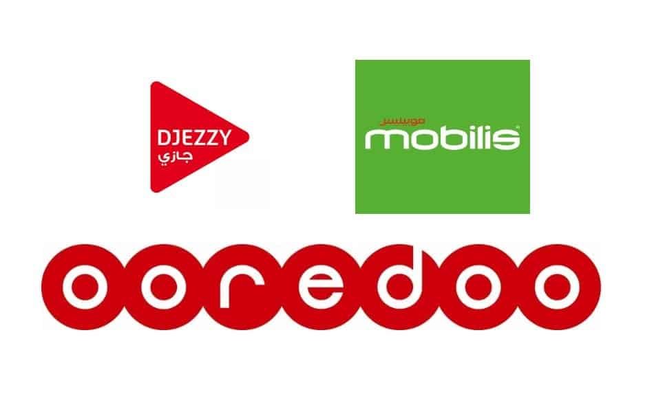Logos of Telecom Providers in Algeria: Djezzy, Mobilis, and Ooredoo