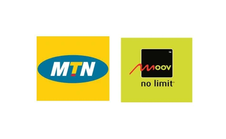 Logos of Telecom Providers in Benin: MTN Benin and Moov Benin