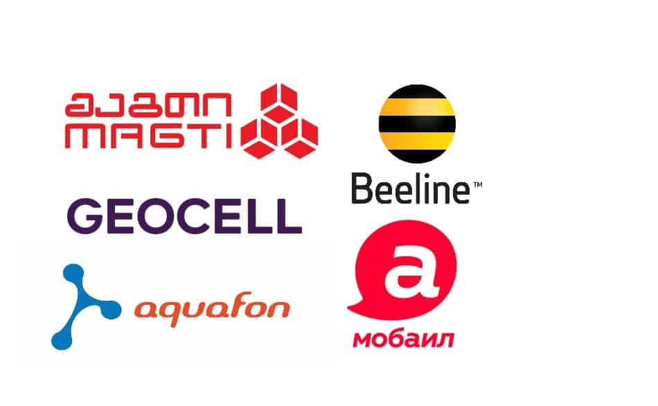 Logos of Telecom Providers in Georgia and Abkhazia: Magticom, Beeline, Aquafon, Geocell