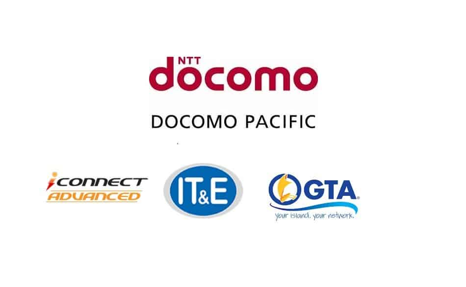 Logos of Telecom Providers in Guam and the Northern Mariana Islands: DoCoMo Pacific, iConnect Advanced, IT&E Wireless, and GTA Teleguam