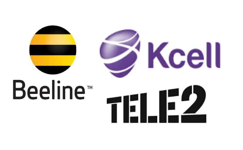 Logos of Telecom Providers in Kazakhstan: Beeline, Kcell, and Tele2
