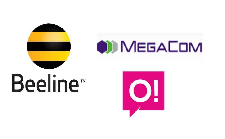 Logos of Telecom Providers in Kyrgyzstan: Beeline, MegaCom, and O!