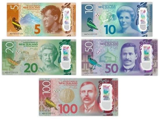 New Zealand Dollar Bank Notes (5, 10, 20, 50 & 100 NZD)