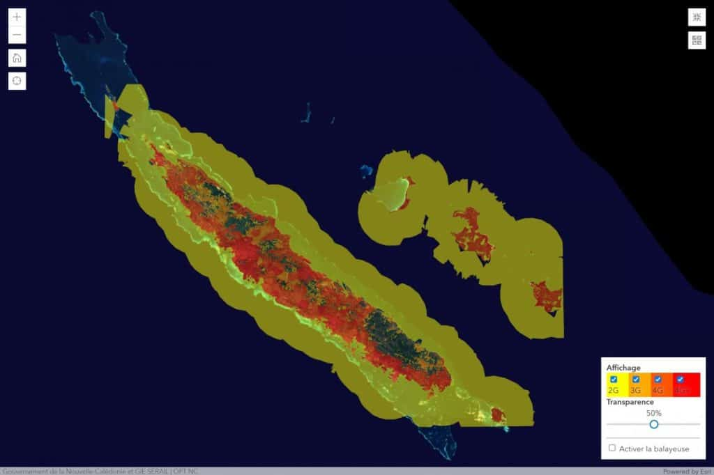 Mobilis by OPT-NC New Caledonia 2G/3G/4G Coverage Map