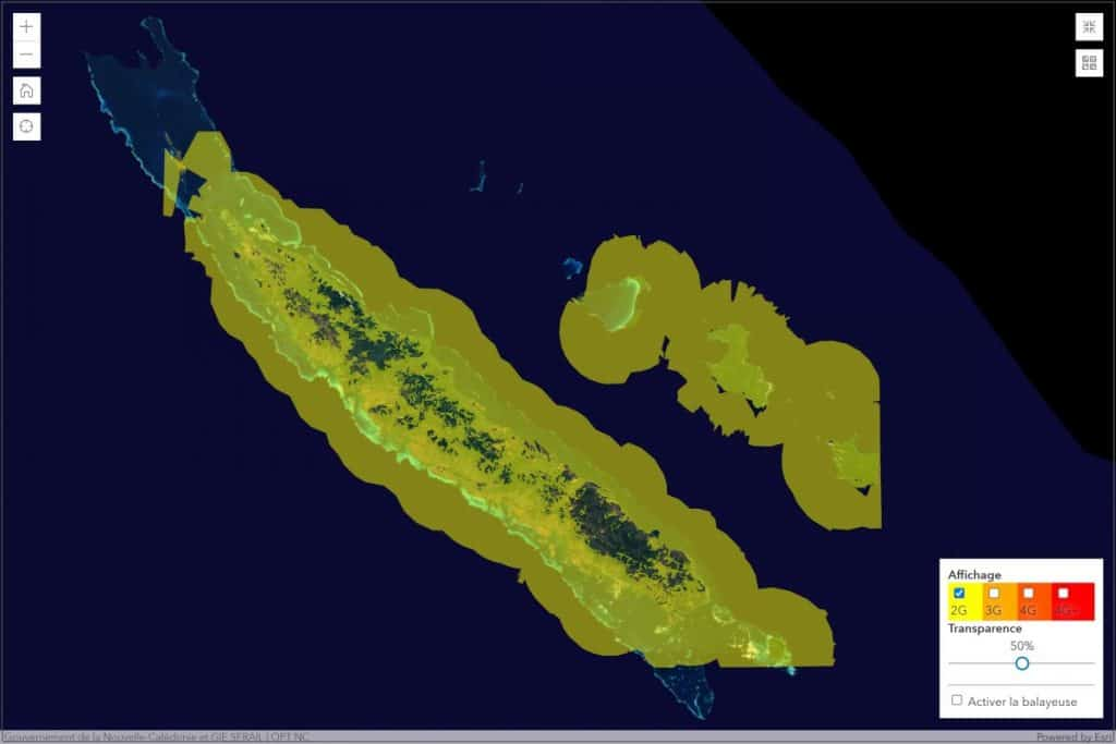 Mobilis by OPT-NC New Caledonia 2G Coverage Map