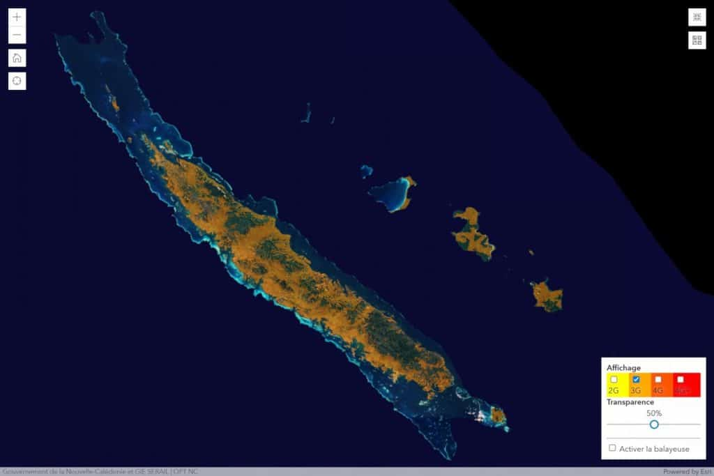 Mobilis by OPT-NC New Caledonia 3G Coverage Map