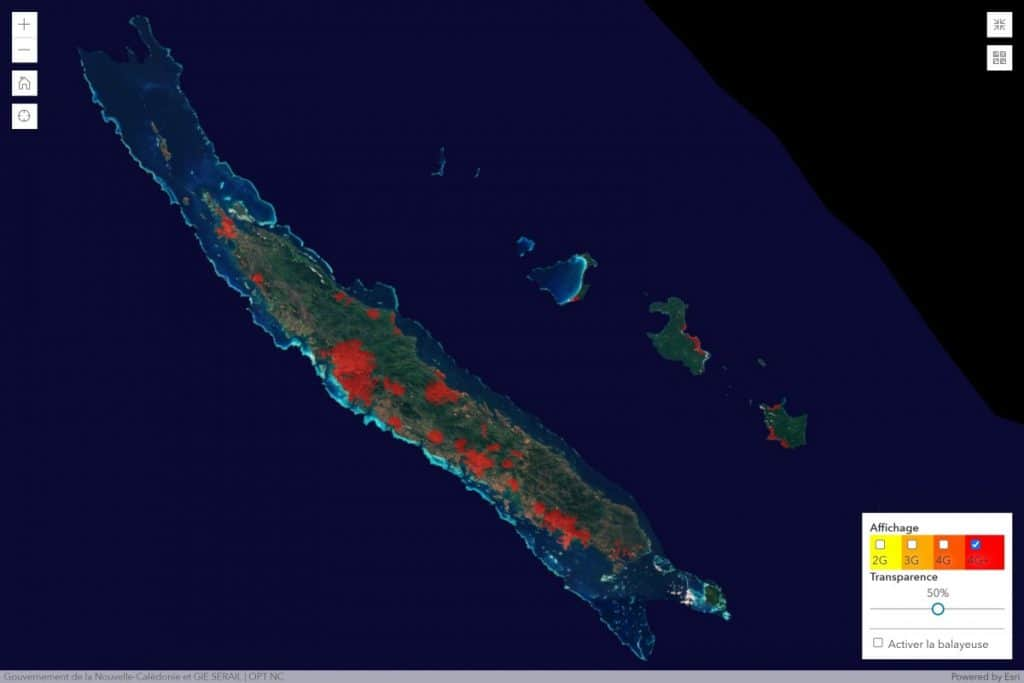 Mobilis by OPT-NC New Caledonia 4G+ Coverage Map