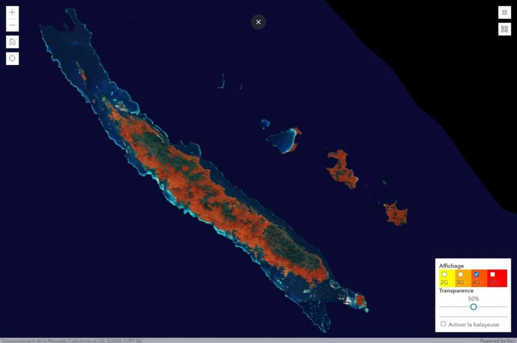 Mobilis by OPT-NC New Caledonia 4G Coverage Map