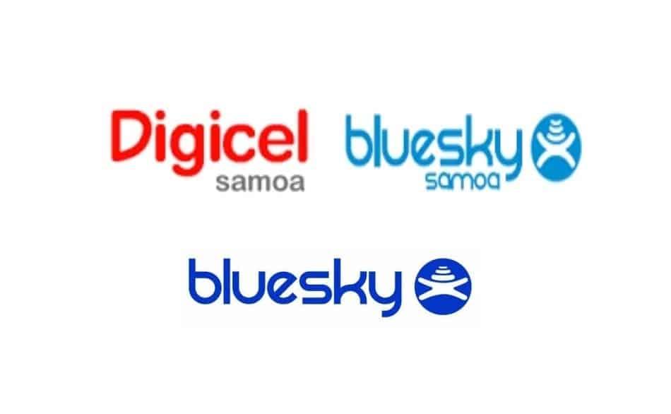 Logos of Telecom Providers in Samoa and American Samoa: BlueSky Samoa, BlueSky American Samoa, and Digicel Samoa