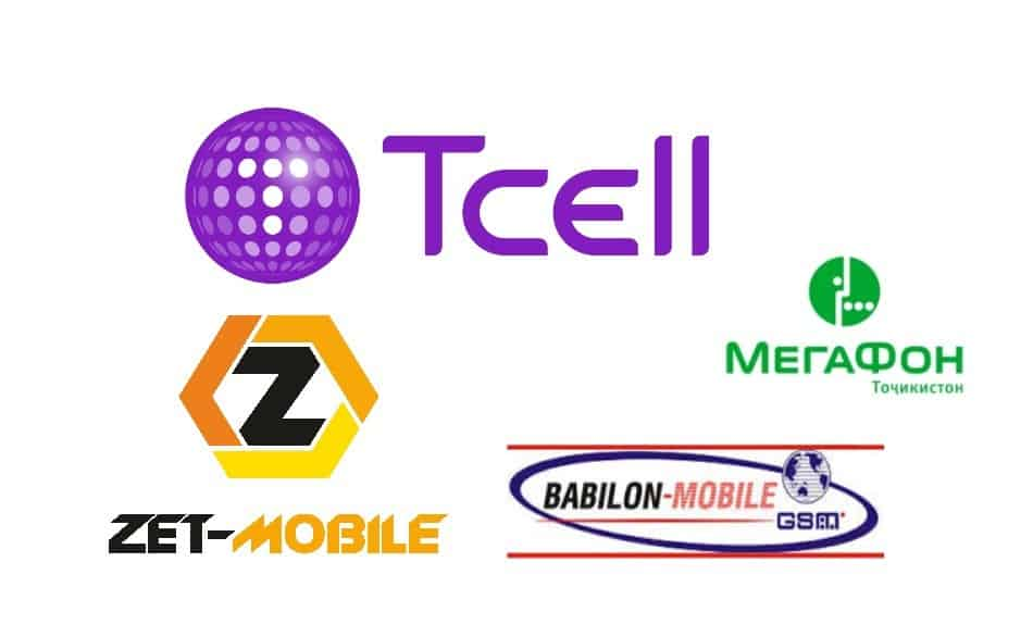 Logos of Telecom Providers in Tajikistan: Tcell, Megafon, Zet Mobile, and Babilon Mobile