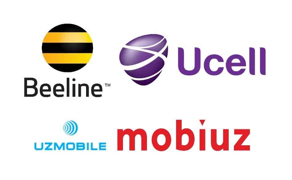 Logos of Telecom Providers in Uzbekistan: Beeline, Ucell, UzMobile, and Mobiuz