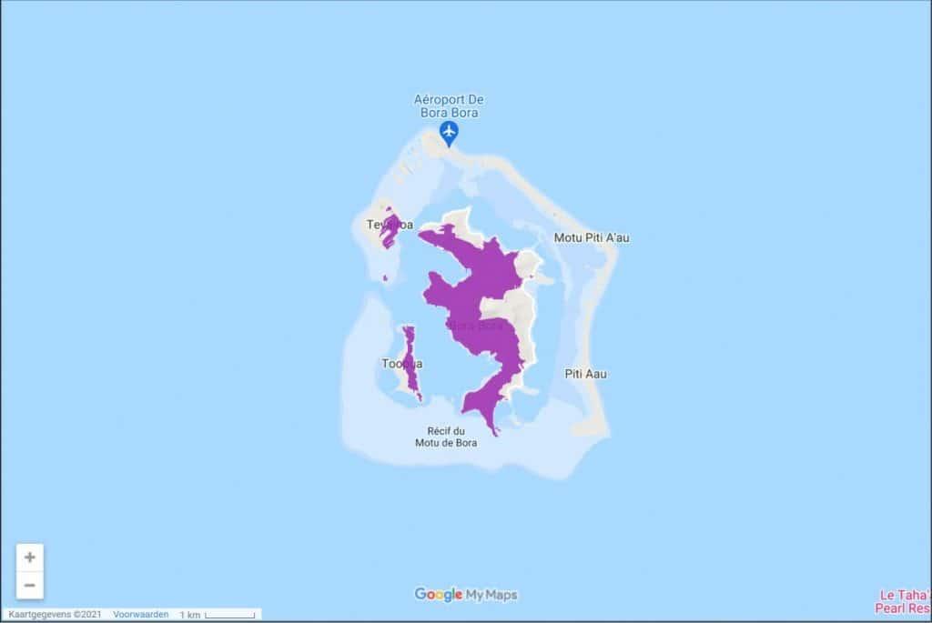 Vodafone Polynesia 3G & 4G-LTE Coverage Map on Bora-Bora