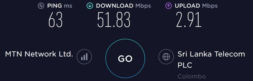 Dialog speed test at my Airbnb in Colombo (Colombo 5)