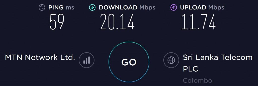Dialog speed test at Colombo International Airport