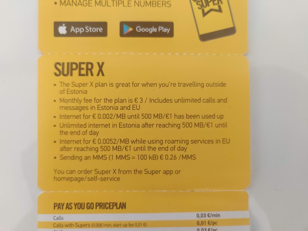 Super X information in the Super by Telia booklet