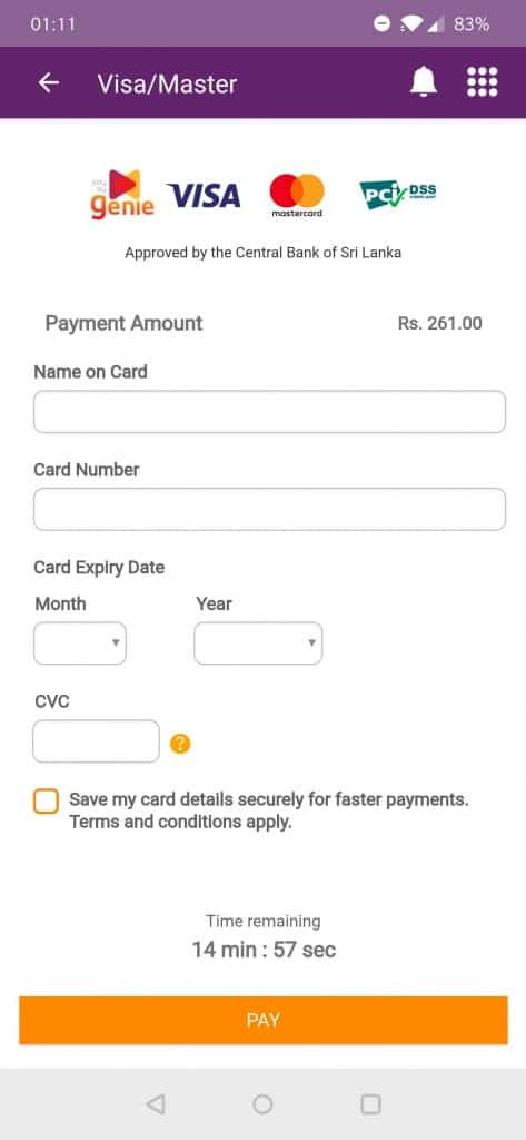 MyDialog Payment page
