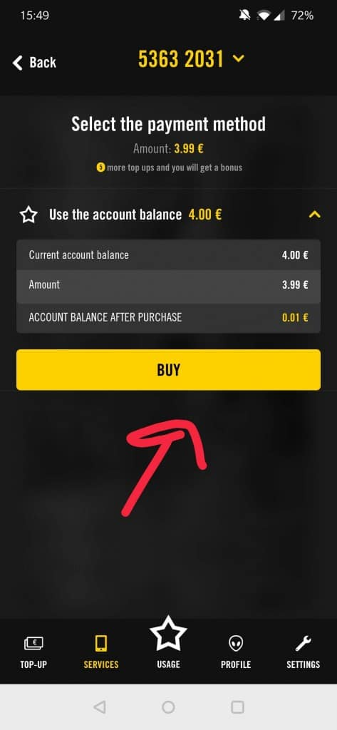 Purchase page of the Super by Telia app