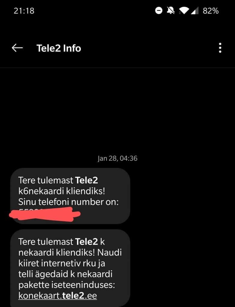 Activation SMS from Tele2 Estonia
