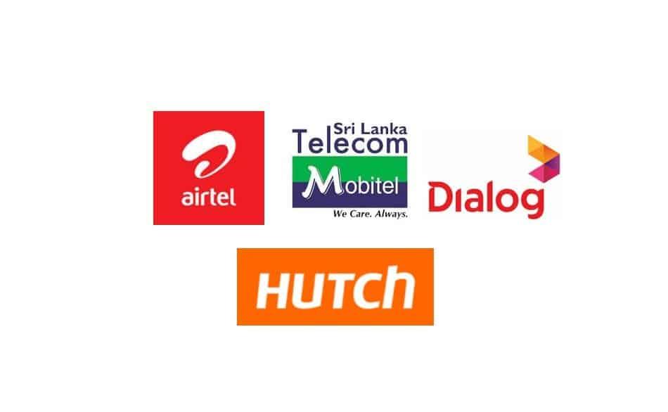 Logos of Telecom Providers in Sri Lanka: Airtel, Mobitel, Dialog, and Hutch
