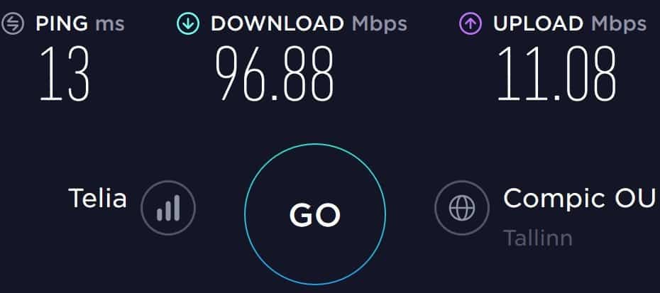 Super by Telia speed test result in the Old Town of Tallinn