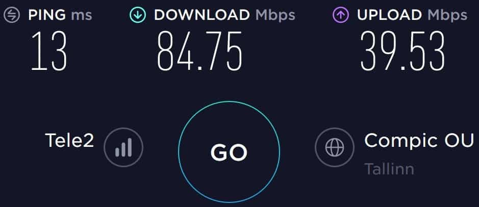 Tele2 Estonia speed test results in the Old Town of Tallinn