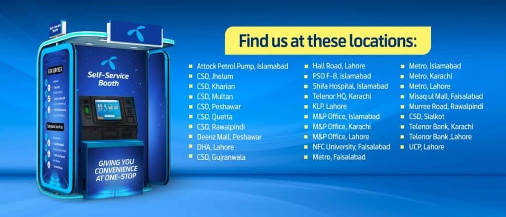 Telenor Pakistan Self Service Booth Locations