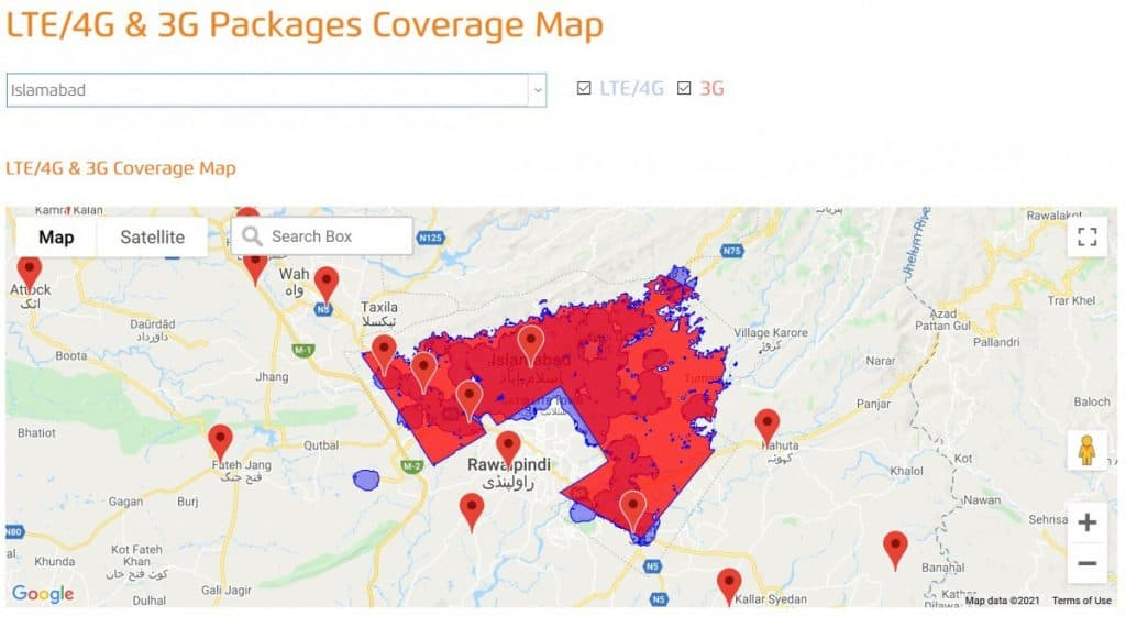 Ufone 3G & 4G-LTE Islamabad Coverage Map