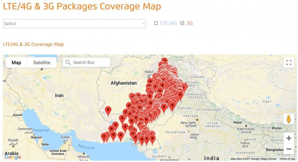 Ufone 3G Coverage Map