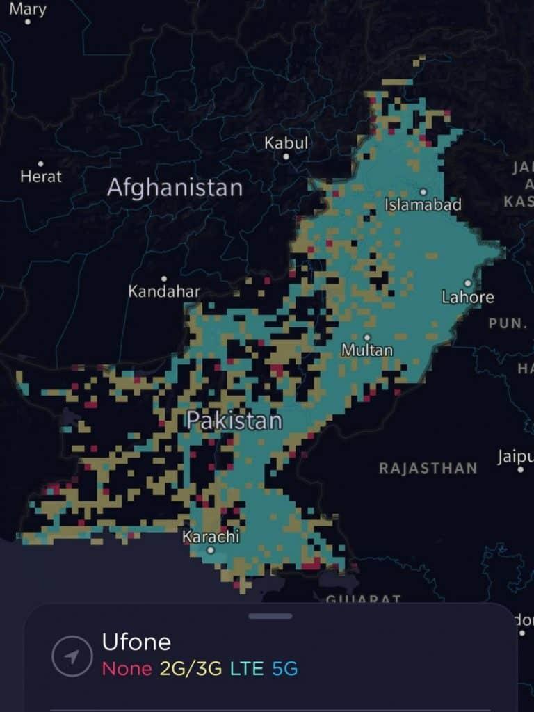 Ufone Coverage Map