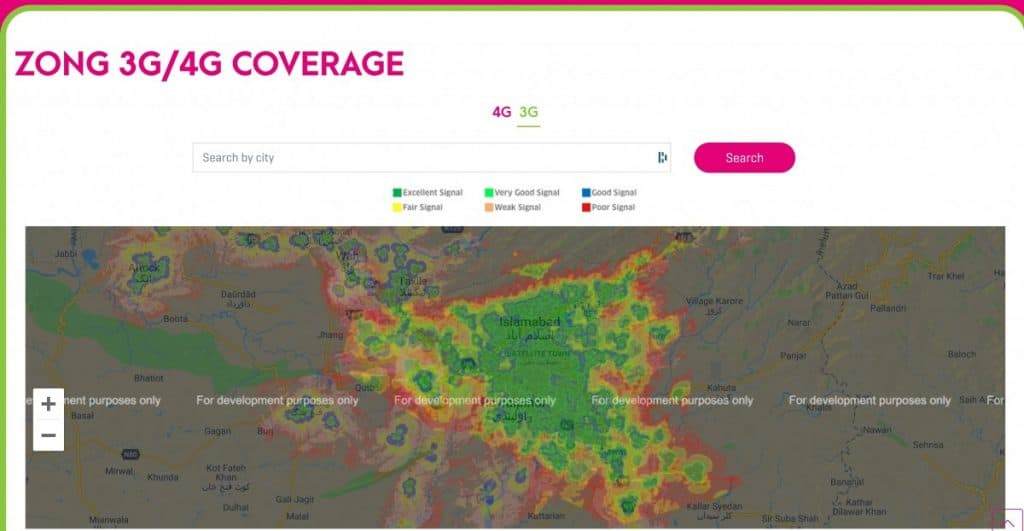 Zong Islamabad 3G Coverage Map