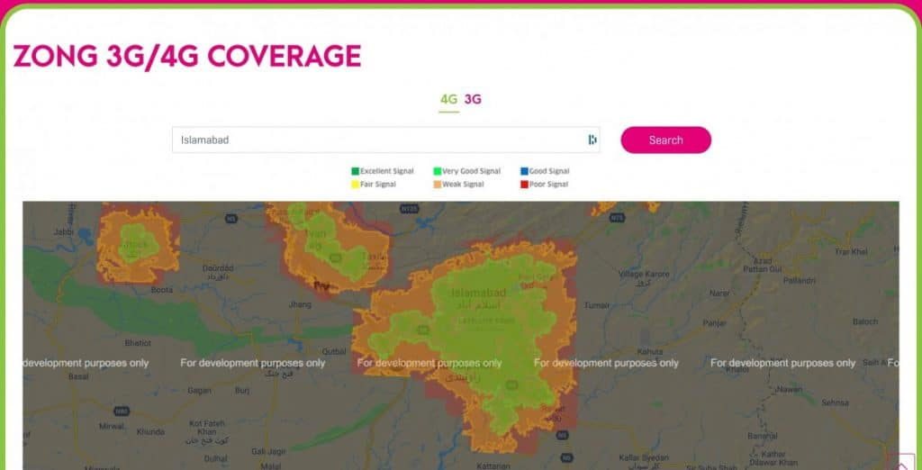 Zong Islamabad 4G-LTE Coverage Map