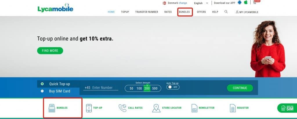 Lycamobile Denmark homepage