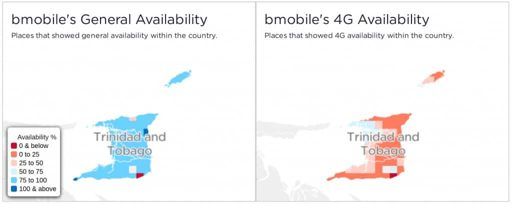 Bmobile Coverage Maps - General Availability and 4G Availability